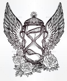 Romantic Design Of a Winged Hourglass With Roses. by itskatjas Hand drawn romantic beautiful drawing of a hourglass. Vector illustration isolated. Tattoo design, mystic time symbol for your use
