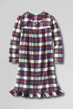 Girls' Long Sleeve Flannel Gown from Lands' End size 4 in pink