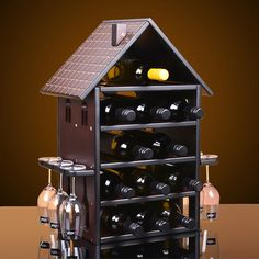 Creative (H) Wood Wine Rack Furniture For Home Vintage House Red Wine Champagne Stemware Wine Holder Bottle Glass Stand Cheap Wine Racks, Wood Wine Racks, Wine Shelves, Wine Storage, Wine Rack Furniture, Mini Bar At Home, Vintage Furniture, Home Furniture, Wine Stand