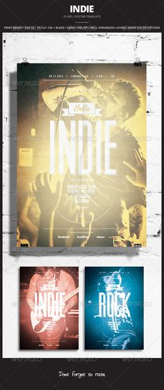 Indie Flyer / Poster 11  #GraphicRiver          Indie Flyer / Poster 11 Promote any kind of music event. Gig, Concert, Festival, Party or weekly event in a music club and other kind of special evenings. Help File included.    1 psd File  Print Ready  A4 29,7×21 CM + bleed  300 dpi  CMYK  Well Organized Layers  Professional & clean design  Easy to use  Help File  Fonts Used  Open Sans –  .fontsquirrel /fonts/open-sans  Muncie –  .losttype /font/?name=muncie  League Gothic –  .fontsquirrel…