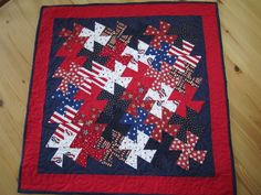 Patriotic twister quilt layout from a forum post