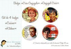 Set de 4 badges Crise Conjugale Special Cuisine by par Eudeline, $15,00