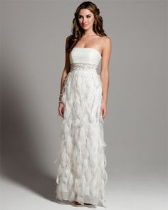 Sue Wong White Strapless Feather Gown $159.  One day sale @Rue La La
