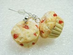Cherry Muffin Earrings Polymer Clay by GiraffesKiss on Etsy, £7.50