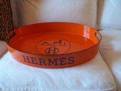 Hermes Logo Tray Orange Hermes Replica Oval Bar tray | elizabethfordreplicatrays elizford1@hotmail.com