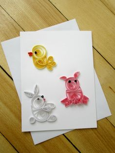 Paper Quilled card baby card birthday card by MaritimeHandcrafts