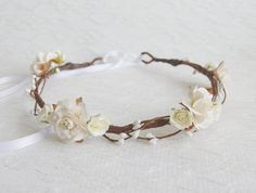 Ivory Rose Flower Crown woodland floral crown by WoodlandBlossoms