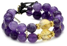 MINU Jewels Amethyst Leather Bracelet MINU Jewels. $39.99. Black leather, 14k vermeil findings and 14kt gold vermeil button. Made in USA. This item is handmade and the number of amethyst stones will vary. The total weight of the bracelet is 48 grams. Show off your wrist with this beautiful leather gemstone bracelet.  The beautiful colors of faceted amethyst mixed with faceted citrine with a touch of gold creates a style that is perfect for everyday. Handmade