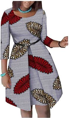 Afripride African Dresses for Women Ankara Print Plus Size Female Midi Cotton Church Dress A1825063 507J XXS: Amazon.ca: Clothing & Accessories Best African Dresses, Latest African Fashion Dresses, African Traditional Dresses, African Print Dresses, African Print Fashion, African Attire, African Wear, African Outfits, Shweshwe Dresses