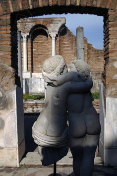 Ostia Antica. House of Cupid and Psyche. 4th century AD. Statue of Cupid and Psyche. Italy.