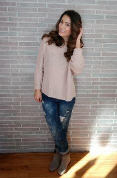 Blush Pink Sweater & Boyfriend Jeans
