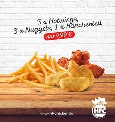 Na Lust auf etwas gemischtes? Dann ist in unserem Mega Deal des Monats unser Finger Food Menü genau das richtige für dich ;) . 3 x Hotwings + 3 x Nuggets + 1 x Hänchenteil + kleine Pommes nur 4,99 € . #hfc #hfchicken #hfchickende #fastfood #burger #fingerfoods #food #instafood #chicken #pommes #fastfoodliebhaber #instaburgers #deutschland #dillenburg #giessen #lieferservice Fast Food, Burger, Finger Food, Pineapple, Fruit, Germany, Pine Apple, Finger Foods, Snacks