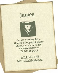Will You Be My Groomsman Invitation Card by luvs2create2 on Etsy