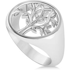 Allurez Family Tree of Life Ladies Signet Ring 14k White Gold ($815) ❤ liked on Polyvore featuring jewelry, rings, 14 karat ring, white gold signet ring, engraved signet rings, 14 karat gold ring and engraved rings