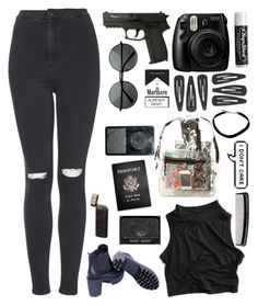 """""""We're dressed in black from head to toe with guns hidden under our petticoats"""" by wxlk-the-line ❤ liked on Polyvore featuring Topshop, Denman, Fujifilm, Passport, Chapstick, *Accessories Boutique, set, black, grunge and the1975"""
