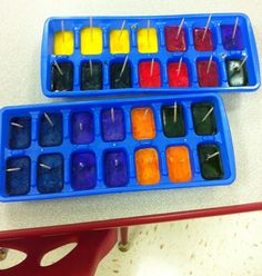 """ice painting.  the tutorial uses """"liquid watercolor"""" but I would probably try kool-aid mix."""