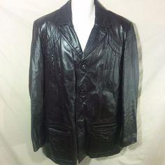VINTAGE Men's Berman's Leather Jacket Hip Length Coat Brown Zip out Liner-42 L #Bermans #BasicJacket