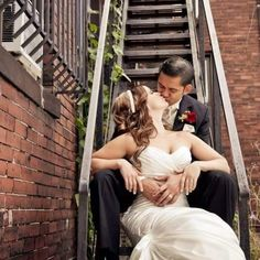 Even an old fire escape can be the perfect location for romantic images! www.lovebreephotography.com