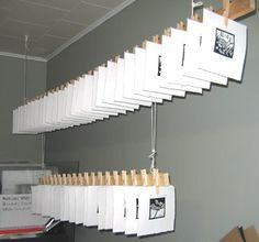 great drying solution for prints - maybe use the bottom edge of the shelves in the art room