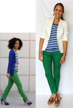 green jeans, white blazer, blue stripes via J's Everyday Fashion Summer Outfits, Casual Outfits, Cute Outfits, Fashion Outfits, Womens Fashion, Petite Fashion, Fashion Scarves, Green Pants Outfit, Red Pants