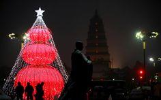 Christmas lights. Christmas tree. Chinese. Beijing China. Christmas around the world.