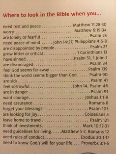Where to look in the Bible for answers to life