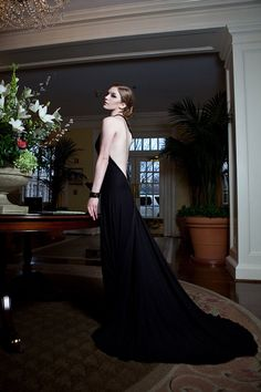 Backless one shouldered evening gown by Anastasia Lecky: Bamboo jersey & modal