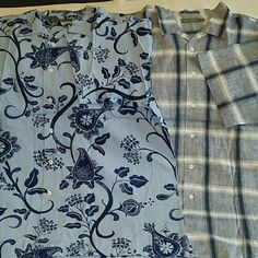 Bundle of two MEN'S short sleeve shirts Two camp shirts, but just one price! Also just one shipping price! Both shirts are Daniel Cremieux Signature Collection and have chest measurement of 28 inches across laying flat. Plaid shirt is 100% linen. Flower print is 55% cotton, 45% tencel. Both like new condition. Daniel Cremieux  Tops