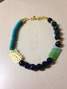 Navy blue agate and turquoise necklace