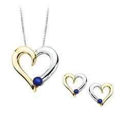 Sapphire Heart Jewelry Set in 10K Two Tone Gold (1/4 cttw) -- Details can be found by clicking on the image.