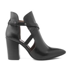 H Shoes by Hudson Women's Geneve Leather Heeled Ankle Boots - Black (6.885 RUB) ❤ liked on Polyvore featuring shoes, boots, ankle booties, black, black ankle boots, short black boots, black cut-out booties, high heel ankle boots and black leather booties
