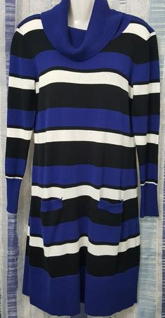 6b8118ea2b0 Lennie for Nina Leonard Size M Multi-color Stripe Tunic Sweater Dress   LennieforNinaLeonard