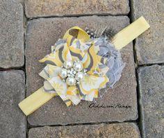 baby headband - Yellow and Gray fabric flower headband with pearl and rhinestone accent piece. $15.95, via Etsy.