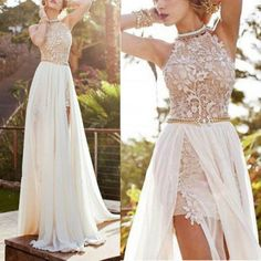 Sexy Lace Long Chiffon Bridesmaid Evening Formal Party Cocktail Dress Gown Prom #ZEHUI #Sexy #Formal