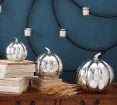 DIY metallic pumpkins from dollar tree. Inspiration from Pottery Barn