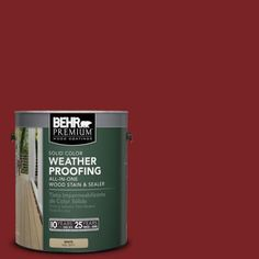 BEHR Premium 1-gal. #SC-112 Barn Red Solid Color Weatherproofing All-In-One Wood Stain and Sealer to paint the wooden couch