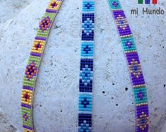 These ethnic beaded bracelets are perfect for ethnic jewelry fans! This colorful miyuki bracelet has an elegant diamond pattern. This beautiful ethnic bracelet Bead Loom Bracelets, Beaded Bracelet Patterns, Bead Loom Patterns, Woven Bracelets, Beading Patterns, Diamond Bracelets, Paracord Bracelets, Colorful Bracelets, Bangle Bracelet