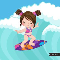 Surfer girls clipart surfing characters black card making