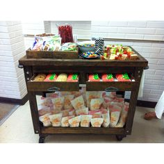 Teacher appreciation cart. Staff LOVED it!!! love the idea of rolling a cart around and delivering goodies to the staff.
