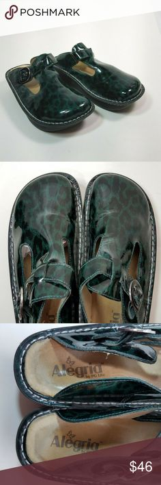 7a7a49640b550 Alegria Mary Jane Shoes Size 38 Green Black 8 8.5 Alegria Mary Jane Shoes  Size 38