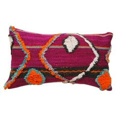 Check out this item at One Kings Lane! Wool Moroccan Tufted Pillow, Purple