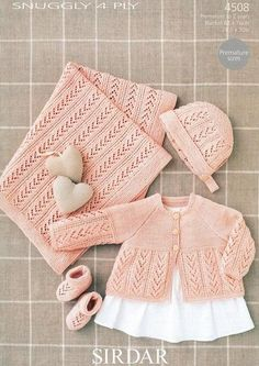 Coat, Bonnet, Booties and Blanket in Sirdar Snuggly 4 ply (4508)-Deramores