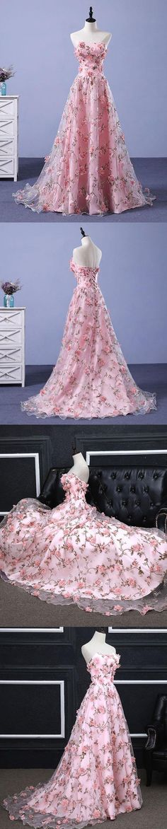 I love the pink floral fabric and the texture of this gown