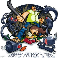 Happy Father's Day!   #fathersday #father #daughter #parent #child #girl #holiday #husband #friend #mentor #robot #robots #fight #protect #men #crowbar #weapon #error #stars #starysky #sky #fiction #scifi #syfy #art #doodle #drawing #sketch #digital #cartoon #animation #character