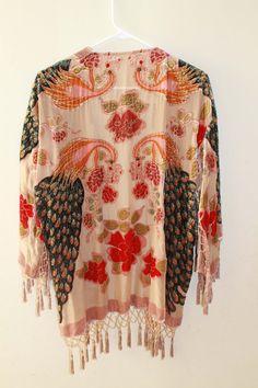 Vintage Silk Velvet Floral Burnout Beaded Deco Flapper Kimono Boho Festival Fringe Jacket