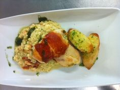 Parma Ham Wrapped Breast of Chicken Baked and SW Sunblushed Tomato, Crayfish Risotto & Fresh Baked Garlic Bread - £10.95