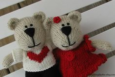 Knit Bear Couple  Teddy Bear  Plush Doll  by cotuitbayknitter