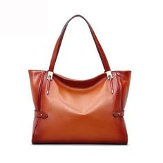 Vintage Cognac Small Expandable Bucket Leather Tote Bags