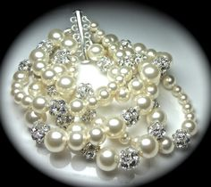 Pearl bracelet   Brides bracelet  Pearls and by QueenMeJewelryLLC, $99.99