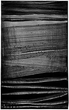 """""""The supreme question about a work of art is out of how deep a life does it spring"""" - JAMES JOYCE - (Piece of Art by Pierre Soulages) Black Art, Black And White Painting, White Art, Abstract Expressionism, Abstract Art, Inspiration Art, Art Abstrait, Monochrom, Contemporary Paintings"""